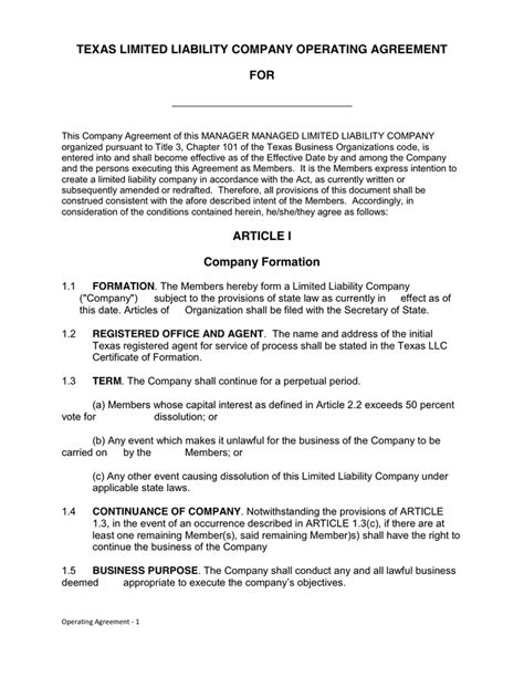 texas llc operating agreement  word   formats