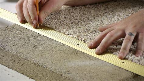 carpet tiles basement floor how to install carpet transition trim between concrete