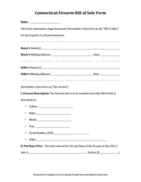 bill of sale template ga fillable connecticut bfirearm billb of bsaleb form speedytemplate fax email print