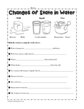 changes in matter worksheets for grade 3 changes of state in water worksheets