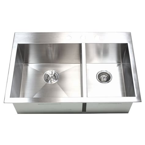 33 inch top mount drop in stainless steel 60 40 double
