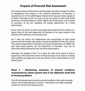 7 security risk assessment samples sample templates With financial assessment template
