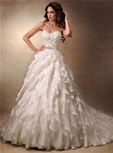 luxury ball gown sweetheart ivory satin organza ruffle With organza ruffle wedding dress