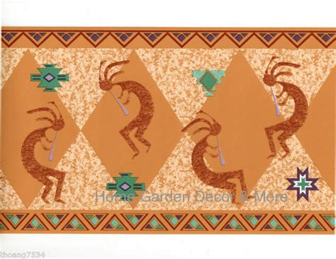 Wallpaper Of Border by Indian Kokopelli Southwest Flute God Orange Clay Wall