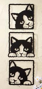 Peeping Black Cats 3D Metal Wall Plaques for Cat Kitten