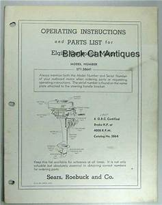 Original Sears Elgin Outboard Owners Manual  Part List For