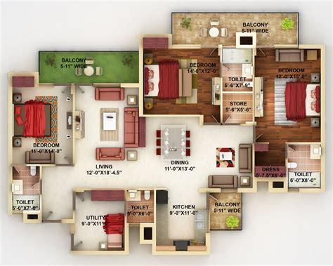 """50 Four """"4"""" Bedroom Apartmenthouse Plans Architecture"""