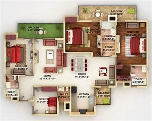 50 four 4 bedroom apartment house plans architecture for Layout for 4 bedroom house