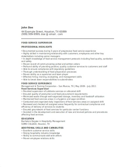 Dietary Supervisor Resume by Food Service Resume Template 6 Free Word Pdf Documents