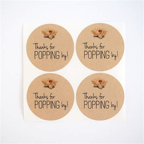 popping  stickers popcorn favor labels