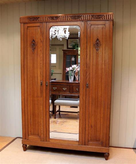 Antique Oak Armoire Wardrobe by Oak Mirrored Door Wardrobe Armoire C 1920