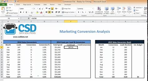 calculate cost  lead conversion  excel youtube