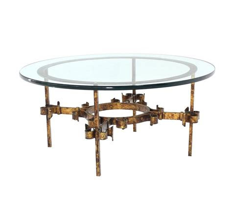 Gilded Wrought Iron Base Round Coffee Table For Sale At