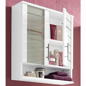 Meuble De Rangement Haut : meuble haut de salle de bain 2 portes nikosia de schildmeyer blanc blanc autres mobilier ~ Teatrodelosmanantiales.com Idées de Décoration