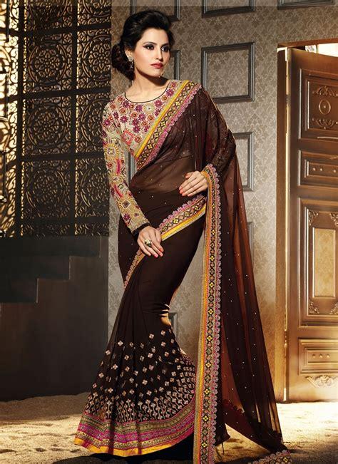 Woven design kanjeevaram coffee brown saree. Blissful Coffee Brown Color Designer Saree