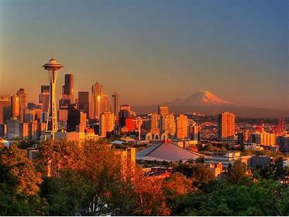 Seattle Sunset Washington Rainier Pixels Skyline Fall