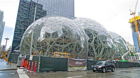 amazon biosphere seattle headquarters glass domes downtown giant checks except transportation several boxes strong texas north construction february under three