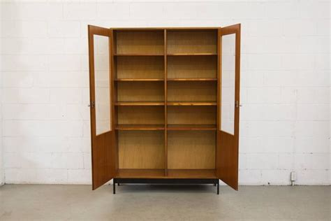 Mid-century Science Storage Cabinet With Black Metal Base At 1stdibs