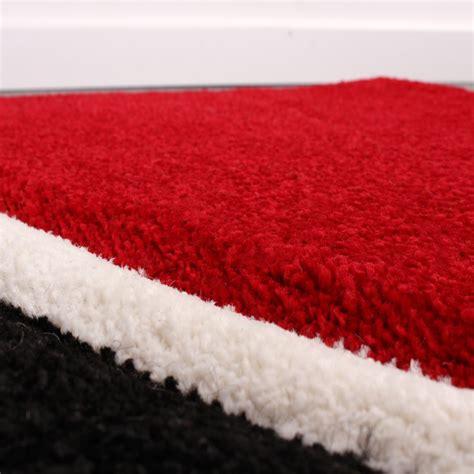 bettumrandung l 228 ufer teppich modern karo rot grau schwarz weiss l 228 uferset 3 tlg wohn und