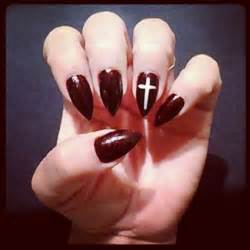 Burgundy Pointy Nails Cross