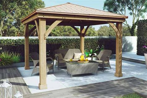 gazebo wooden yardistry wood gazebo with aluminium roof