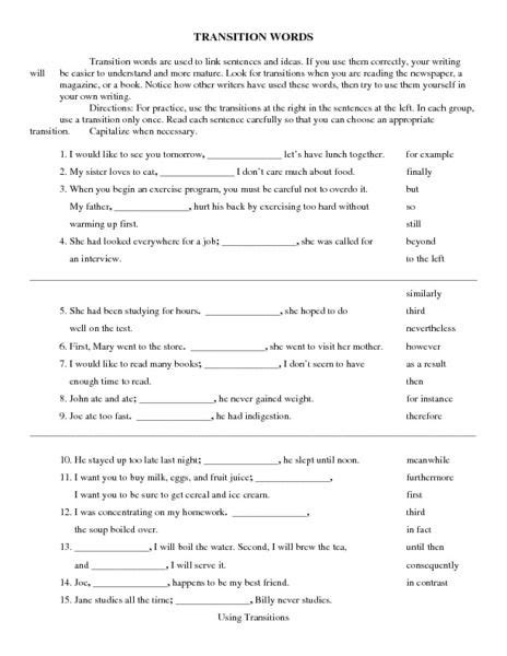 transition words worksheet lesson planet language