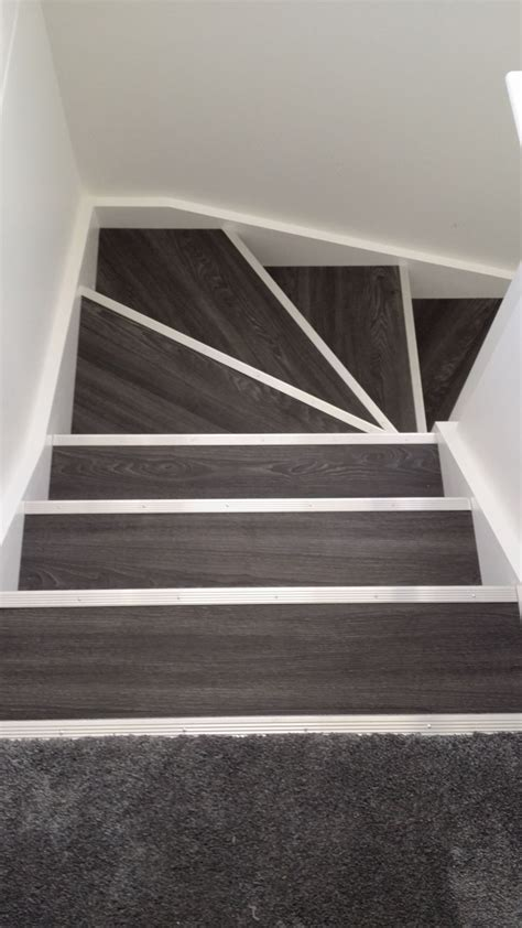 linoleum flooring edging allure locking gen 3 aspen oak black with silver fluted stair nosing floor pinterest