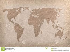 Vintage World Map Paper Craft Stock Illustration