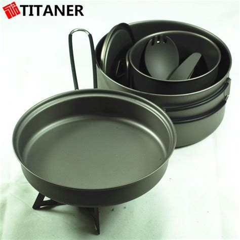 titanium quality cheap cookware camping pans fry titaner control