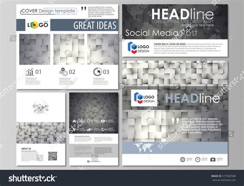 social media post template social media posts set business templates stock vector 577569508