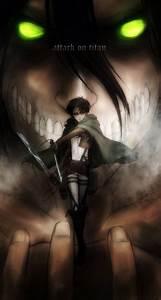 Levi and Eren ( in his titan form ) - Attack on Titan ...