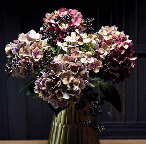 mulberry faux hydrangea stem flowers   wedding