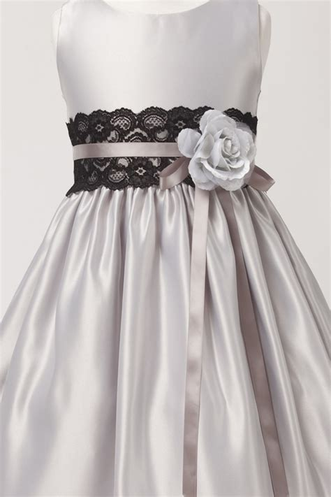 flower girl dresses sks silver sleeveless satin dress  lace waist sash