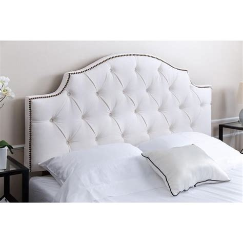 white headboard abbyson living royal tufted white linen headboard