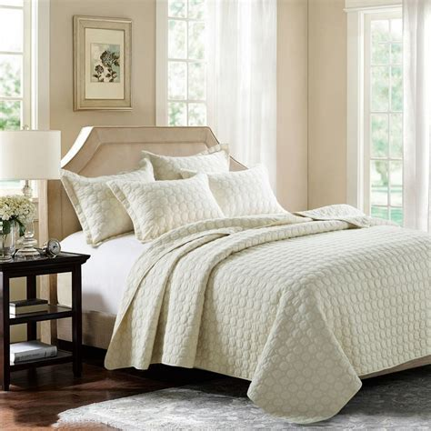 King Size Bed Coverlet by Chausub Beige Cotton Quilt Set 3pcs Embroidery Bed Cover