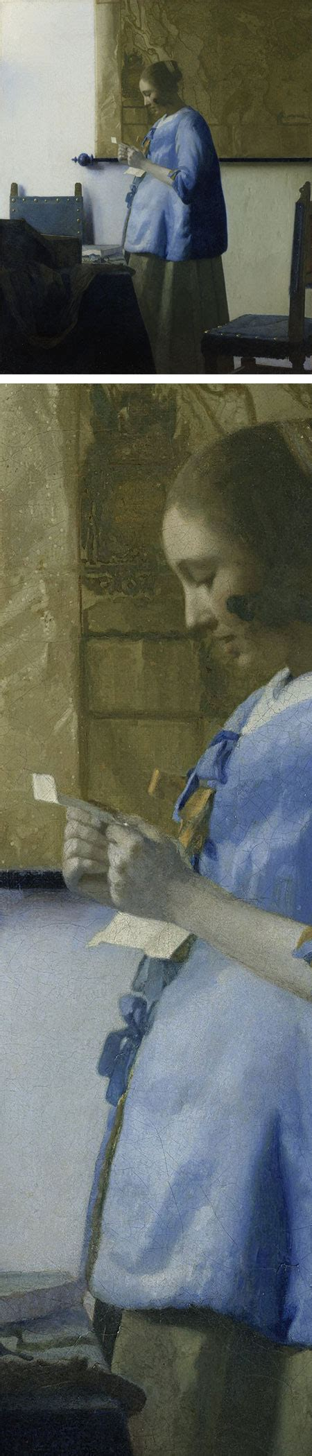 in blue reading a letter vermeer s in blue reading a letter restored 25664