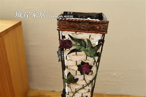 Vintage Hand-woven Iron Floor Vase American Country Style