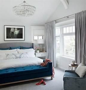 chambre a coucher 110 photos pour l39amenager With chambre bleu blanc rouge
