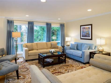 Blue Living Room Accents by Neutral Living Room With Blue Accents Hgtv