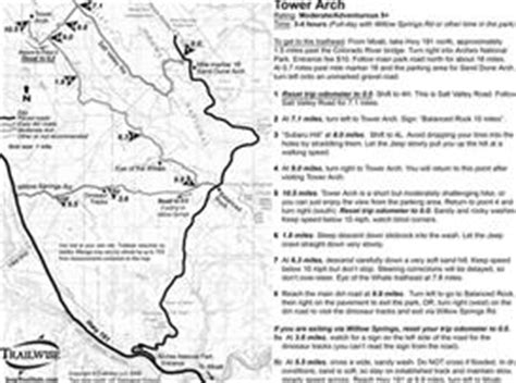 moab jeep trails map tower arch moab utah arches natl park 4x4 jeep trail map