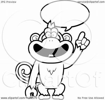 Monkey Smart Cartoon Talking Coloring Clipart Outlined