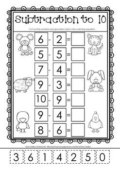 cut and paste subtraction to 10 subtraction to ten worksheets free