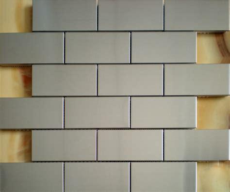 stainless steel tile brushed silver metallic mosaic wall tiles backsplash