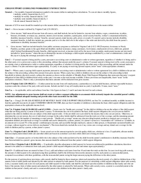 child support guidelines worksheet virginia free