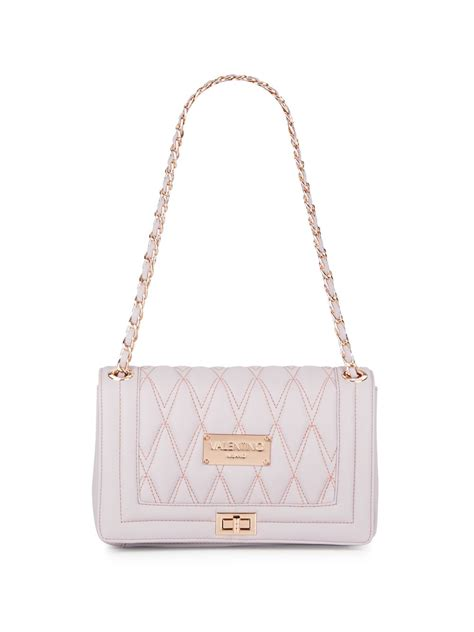 valentino  mario valentino alice quilted leather shoulder bag  white lyst