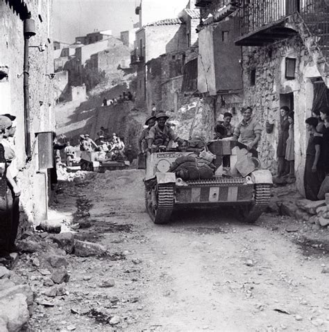 bren carriers in the town of centuripe sicily august