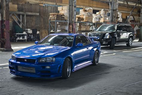 blue nissan skyline fast and furious the fast and the furious cars sports modified cars
