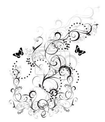 papier peint arabesque floral noir et blanc papillons