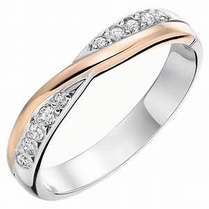 9ct white gold and rose gold diamond ladies wedding ring With white gold and gold wedding rings