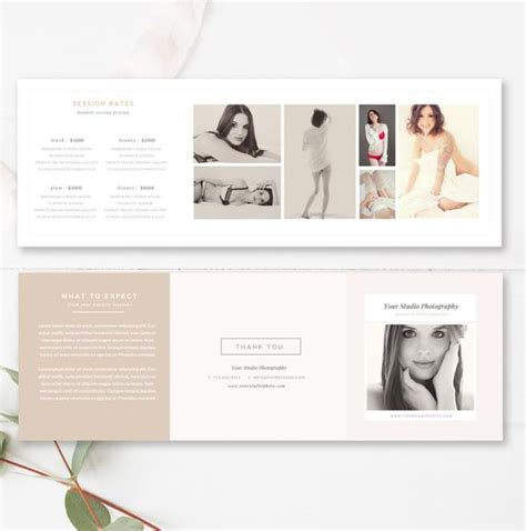 Trifold Brochure Accordion Mini Template Trifold Template Photography Pricing Template 5x5 Accordion Trifold Modern